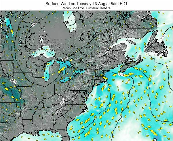 New-York Surface Wind on Wednesday 01 May at 2pm EDT map