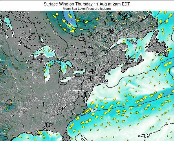 Rhode-Island Surface Wind on Tuesday 25 Jun at 2pm EDT map