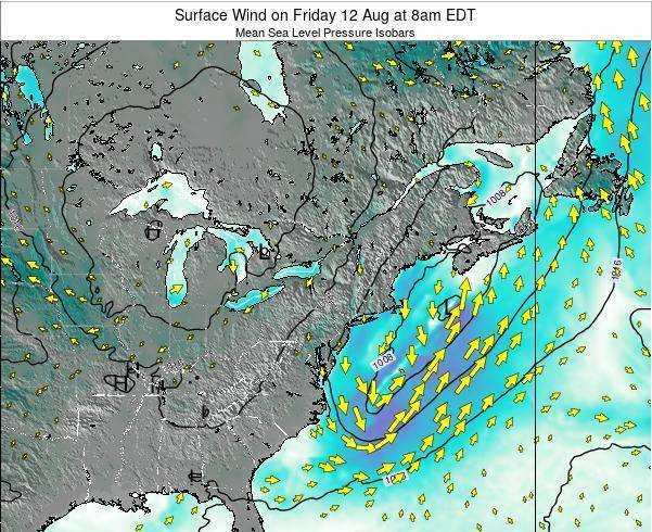 New-York Surface Wind on Saturday 27 Apr at 8am EDT map