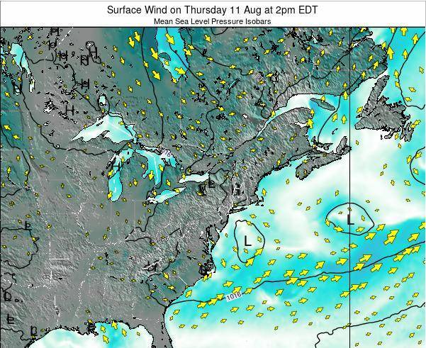 Rhode-Island Surface Wind on Thursday 30 Nov at 7am EST map