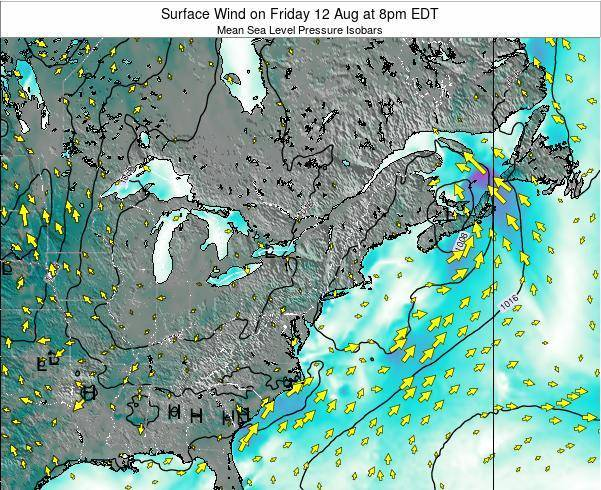 Maryland Surface Wind on Friday 08 Aug at 8pm EDT