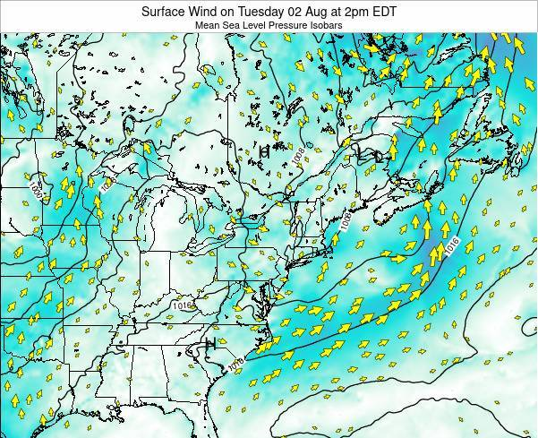 New-York Surface Wind on Monday 22 Apr at 8pm EDT map