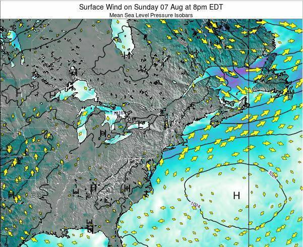 New-York Surface Wind on Wednesday 24 Apr at 2pm EDT map
