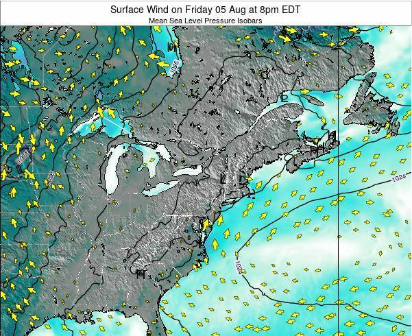 Rhode-Island Surface Wind on Saturday 26 Jul at 2am EDT