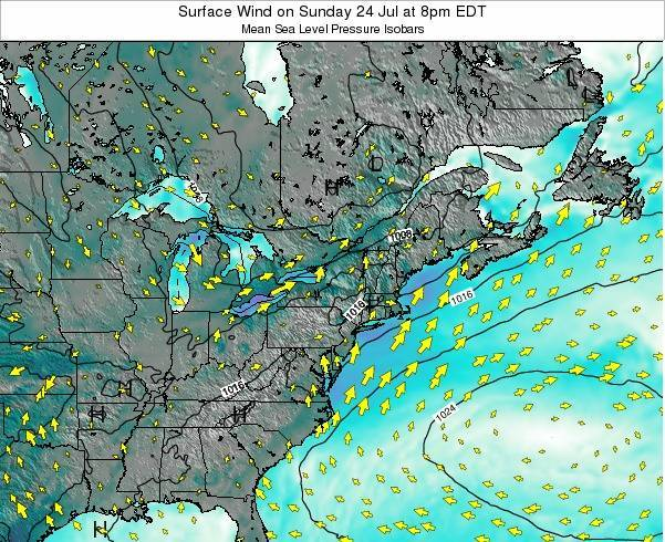 New-York Surface Wind on Thursday 20 Jun at 8pm EDT
