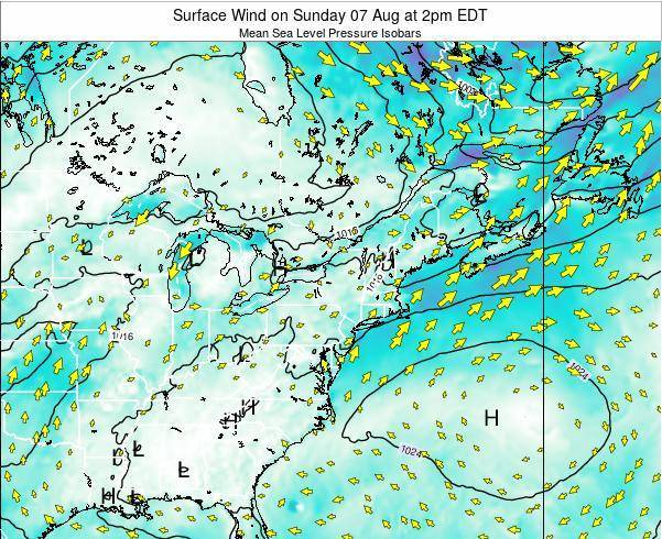 Maryland Surface Wind on Thursday 13 Mar at 2pm EDT