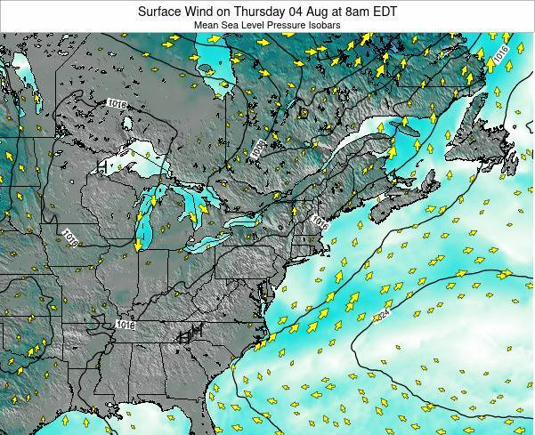 Rhode-Island Surface Wind on Friday 25 Apr at 8pm EDT