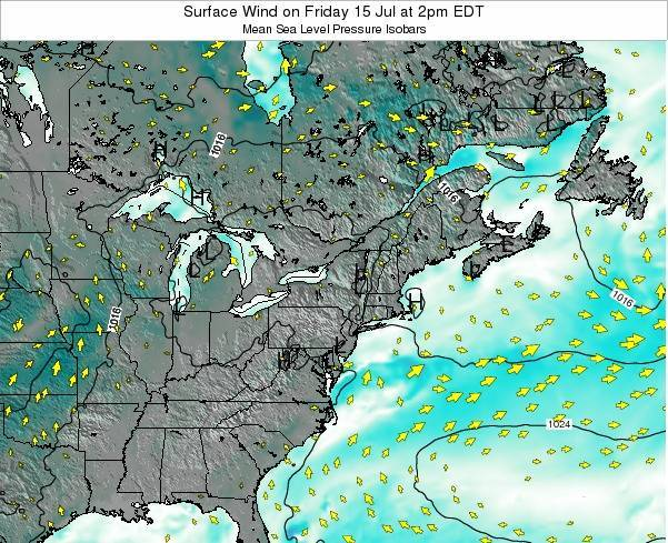 Rhode-Island Surface Wind on Saturday 25 May at 8pm EDT