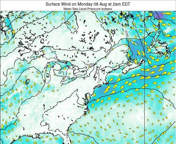 Rhode-Island Surface Wind on Thursday 26 Apr at 2pm EDT map