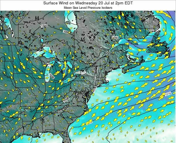 Rhode-Island Surface Wind on Saturday 22 Jun at 2am EDT map