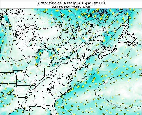 New-York Surface Wind on Thursday 27 Jun at 8am EDT map