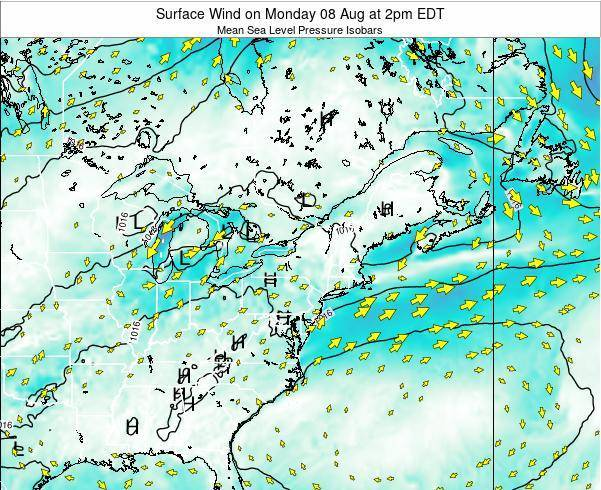 Rhode-Island Surface Wind on Sunday 28 Apr at 8pm EDT map