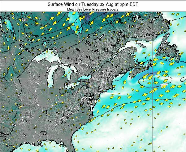 Rhode-Island Surface Wind on Saturday 22 Jun at 2pm EDT map