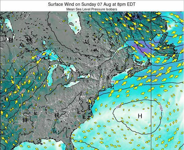 Rhode-Island Surface Wind on Sunday 26 May at 2pm EDT map