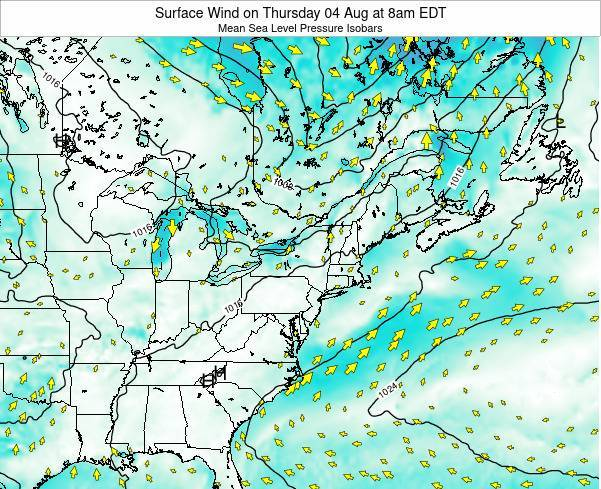 Rhode-Island Surface Wind on Saturday 17 Nov at 1pm EST map