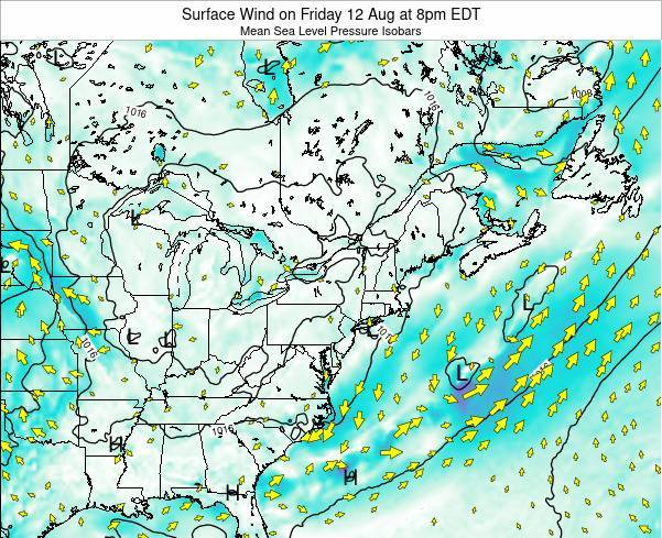 Rhode-Island Surface Wind on Monday 23 Apr at 2am EDT map