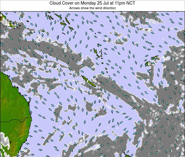 New Caledonia Cloud Cover on Thursday 31 Jul at 11am NCT