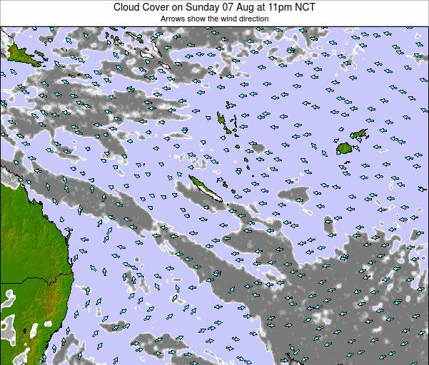 New Caledonia Cloud Cover on Tuesday 11 Mar at 11pm NCT