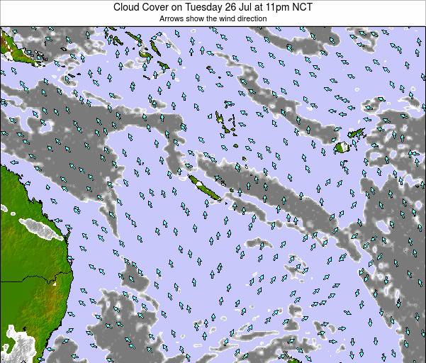 New Caledonia Cloud Cover on Saturday 28 Nov at 5pm NCT