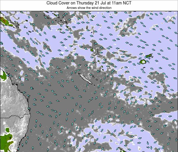 New Caledonia Cloud Cover on Saturday 26 Jul at 5am NCT