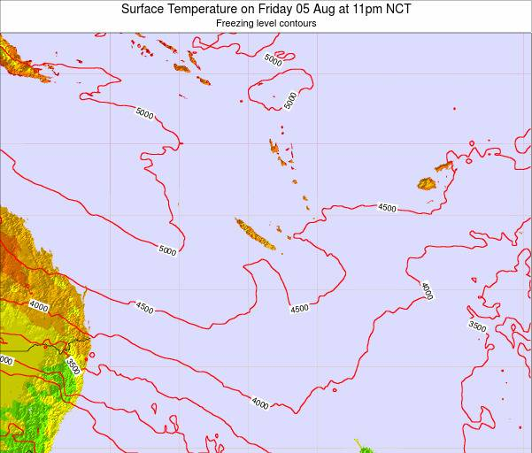 New Caledonia Surface Temperature on Monday 27 May at 5pm NCT