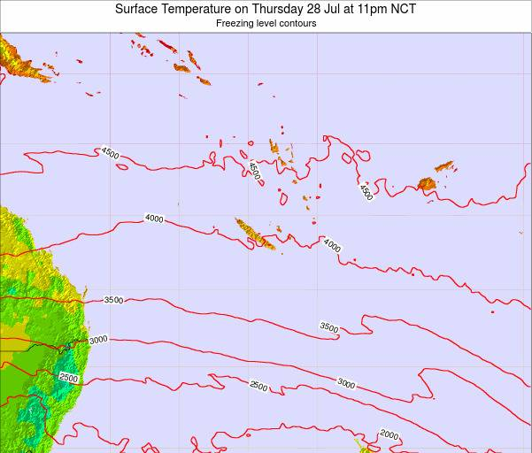 New Caledonia Surface Temperature on Monday 28 Apr at 11am NCT