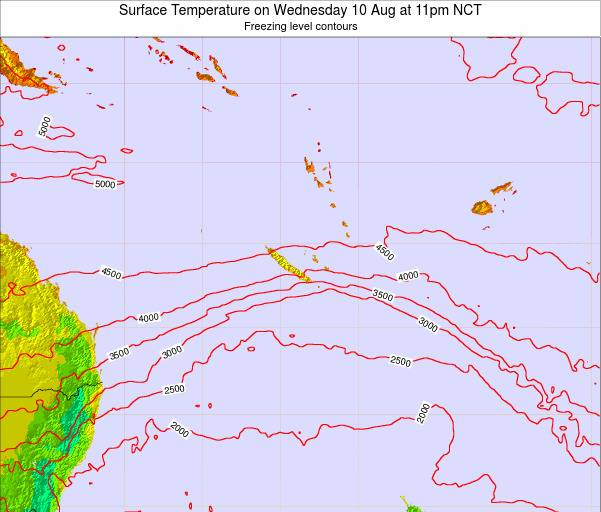 New Caledonia Surface Temperature on Sunday 21 Sep at 5am NCT