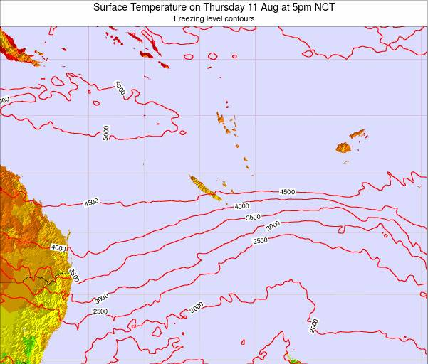 New Caledonia Surface Temperature on Tuesday 23 Dec at 11am NCT
