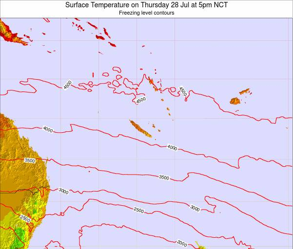 New Caledonia Surface Temperature on Tuesday 28 May at 5am NCT