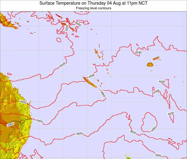 New Caledonia Surface Temperature on Monday 17 Mar at 5am NCT