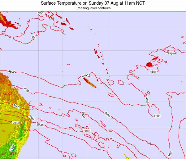 New Caledonia Surface Temperature on Thursday 31 Jul at 5pm NCT