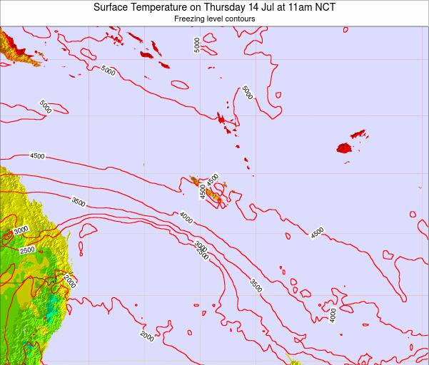 New Caledonia Surface Temperature on Tuesday 22 Jul at 11pm NCT