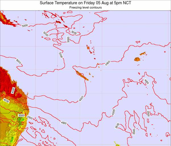 New Caledonia Surface Temperature on Friday 18 Apr at 5am NCT