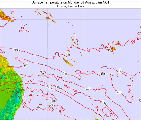 New Caledonia Surface Temperature on Tuesday 01 Dec at 11am NCT