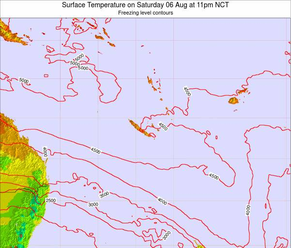 New Caledonia Surface Temperature on Saturday 24 Feb at 11am NCT map