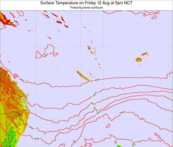 New Caledonia Surface Temperature on Wednesday 29 May at 11am NCT