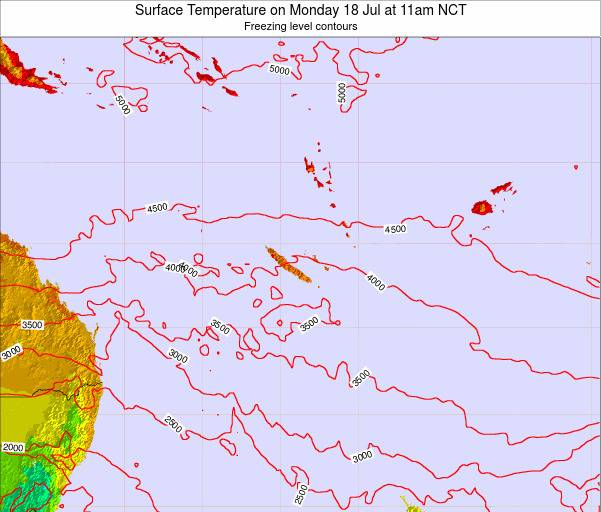 New Caledonia Surface Temperature on Sunday 09 Mar at 11pm NCT