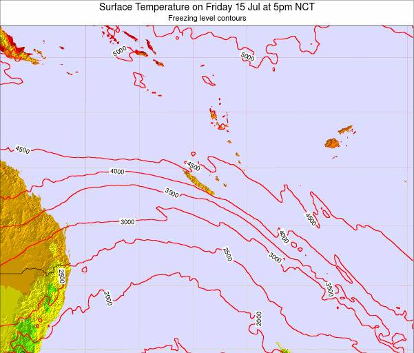 New Caledonia Surface Temperature on Saturday 26 Apr at 5pm NCT