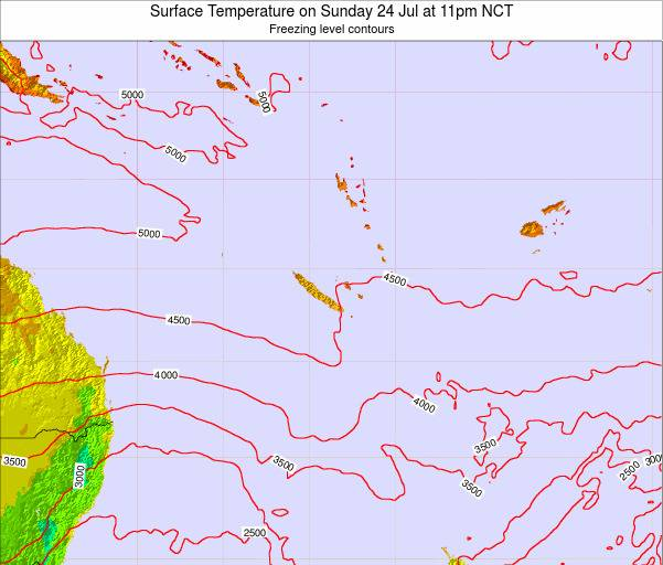 New Caledonia Surface Temperature on Friday 06 Dec at 11am NCT