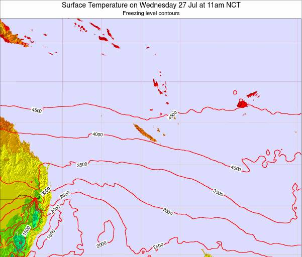 New Caledonia Surface Temperature on Friday 03 Mar at 5am NCT