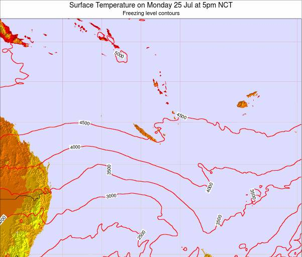 New Caledonia Surface Temperature on Thursday 27 Nov at 11am NCT