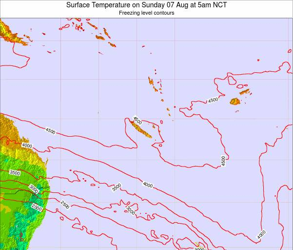 New Caledonia Surface Temperature on Friday 25 Jul at 5am NCT