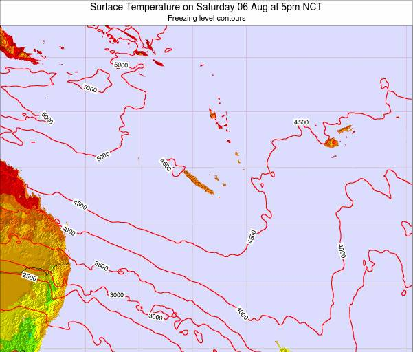 New Caledonia Surface Temperature on Friday 24 May at 11pm NCT