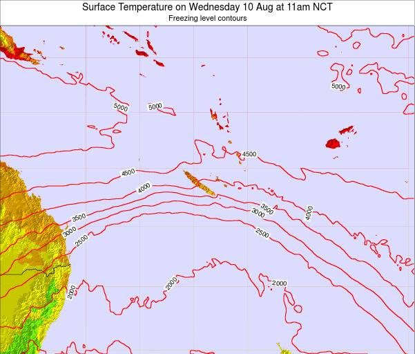New Caledonia Surface Temperature on Friday 30 Jan at 11am NCT