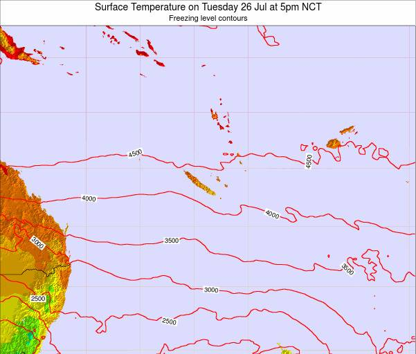New Caledonia Surface Temperature on Thursday 01 Sep at 5am NCT