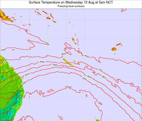 New Caledonia Surface Temperature on Saturday 25 May at 5pm NCT