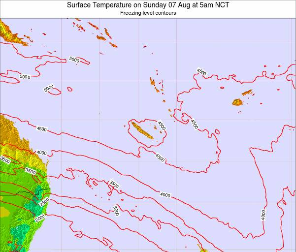 New Caledonia Surface Temperature on Monday 12 Oct at 5pm NCT