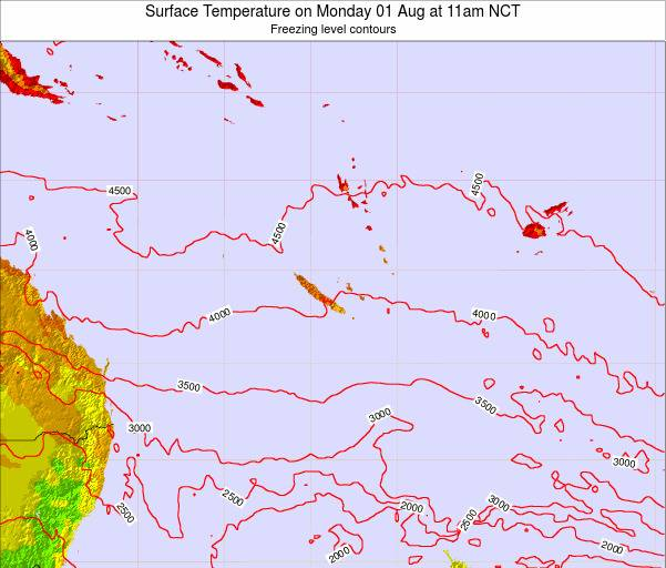 New Caledonia Surface Temperature on Friday 01 Aug at 11pm NCT