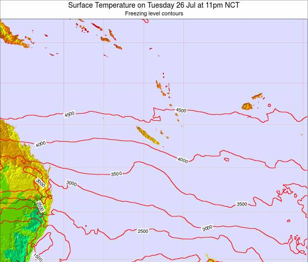 New Caledonia Surface Temperature on Thursday 30 Jul at 11pm NCT