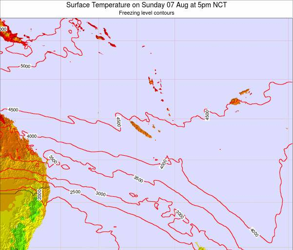 New Caledonia Surface Temperature on Saturday 02 Aug at 5am NCT